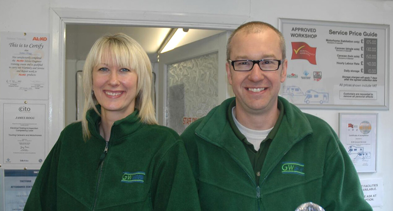 Sarah and James at GW Caravan Services